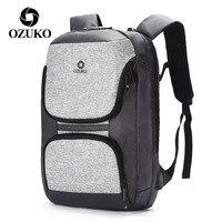 OZUKO Men's Backpack with Zipper Lock Waterproof School Bags USB Laptop Backpacks Multifunction Anti thief Travel Back Packs