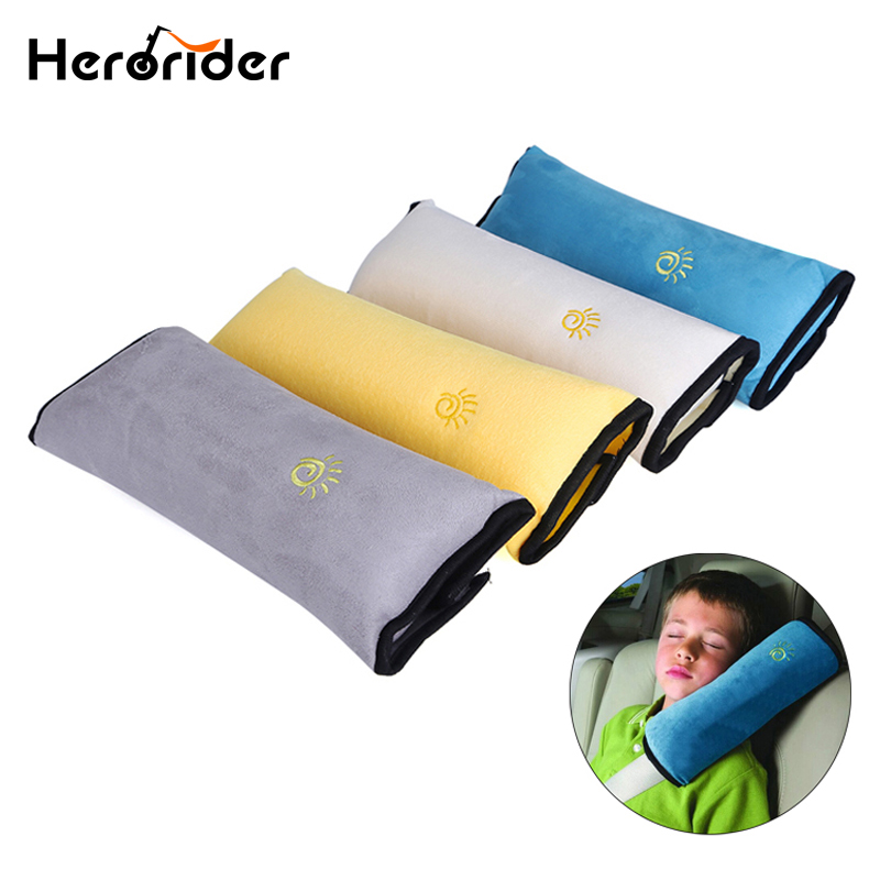 Herorider Auto Car Soft Headrest Cushion Support Pillow Safety Seat Belt Blue Harness Kids Shoulder Padding Vehicle Seatbelt Pad