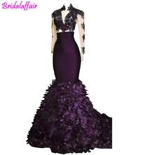 Купить с кэшбэком Sheer Long Sleeve 2018 Gorgeous Evening Dresses African Mermaid Illusion Top Sexy Prom Gowns Ruffles Celebrity Pageant Wear