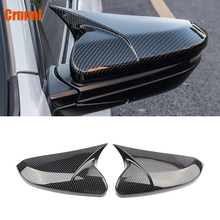 Carbon fiber style protection of the horn shape rearview mirror cover car accessories For Honda Civic