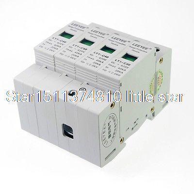 все цены на 4P 20-40KA Din Rail Mount SPD Circuit Lightning Protection Device Arrester 2.0KV онлайн