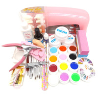 25 in 1 Pro Nail Art Set Color UV Builder Gel DIY Decorations Brush Buffer Cuticle Revitalizer Oil Tools with 9W UV Lamp