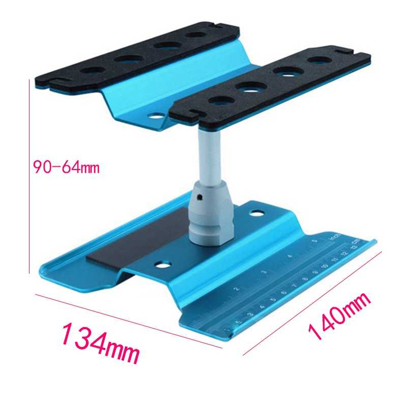 ABGN Hot-Metal Aluminum Rc Car Workstation Work Stand Repair 360 Degree Rotation For 1/8 1/10 Scale Model Blue