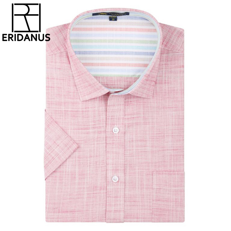 Linen Men Dress Shirts 2017 New Non Iron Slim Fit Short Sleeve Brand Formal Busi