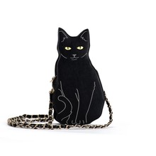 New Fashion 2017 women Cute Cat Handbag Vintage Chain Shoulder Bags Messenger
