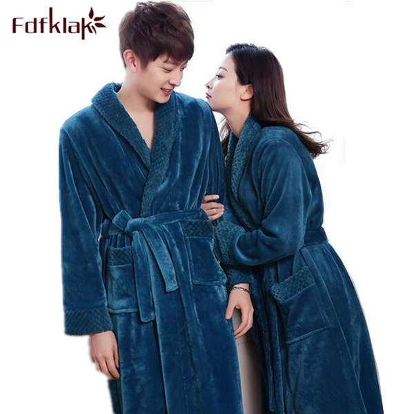4bf884e59b Online Shop 2017 Winter Long Bathrobe Couple Flannel Nightdress Women Warm  Bath Robes Clothes Dressing Gown Women s Bathrobe Coat FemaleQ380