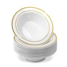 25 шт одноразовые пластиковые чаши-12 унций супница-Золотая отделка реальный китайский дизайн-Премиум сверхмощные пластиковые тарелки для свадьбы