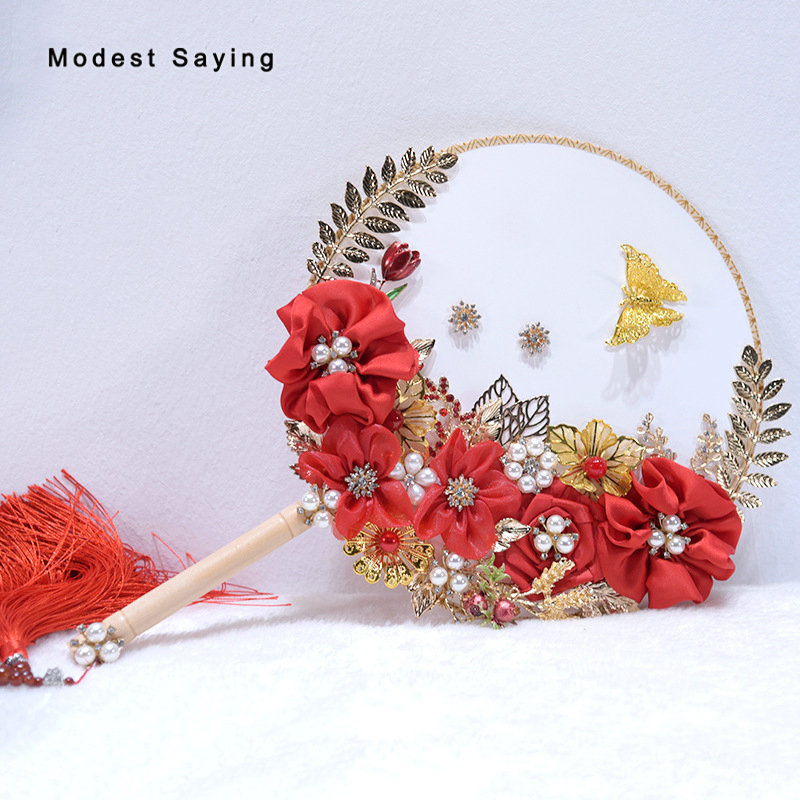 Chinese Red Artificial Flowers Wedding Bouquets 2018 New with Leaves Bridal Bouquets Fan Wedding Accessories bouquet de mariage