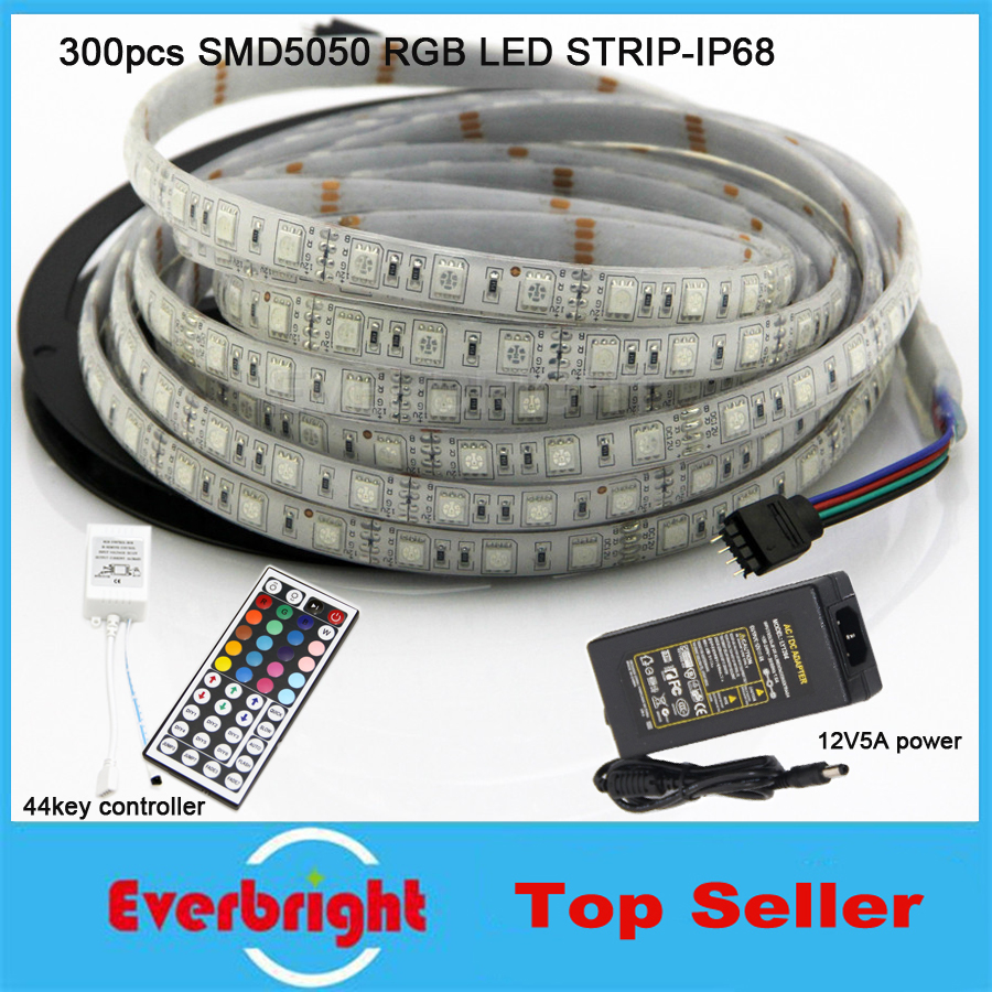 5m 300leds smd 5050 rgb led strip ip68 waterproof 12v led flexible strip light 44 keys. Black Bedroom Furniture Sets. Home Design Ideas