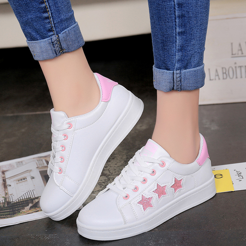 New Spring Summer With White Shoes Women Flats Leather Canvas Shoes Female White Board Shoes Casual Shoes Women Sneakers