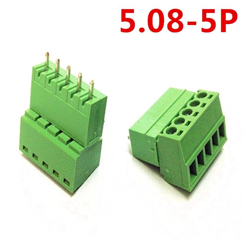 10sets 5 Pin/Way 5.08mm spacing 300V 10A Universal Plug Straight pin Green connectors screw terminal block Pin header and socket
