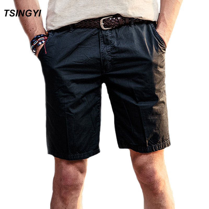 Tsingyi Fashion Men Shorts Summer Solid Mid Waist Knee Length Casual Male Shorts 100% Cotton Mens Compression Trouser Size 28-38 Men's Clothing