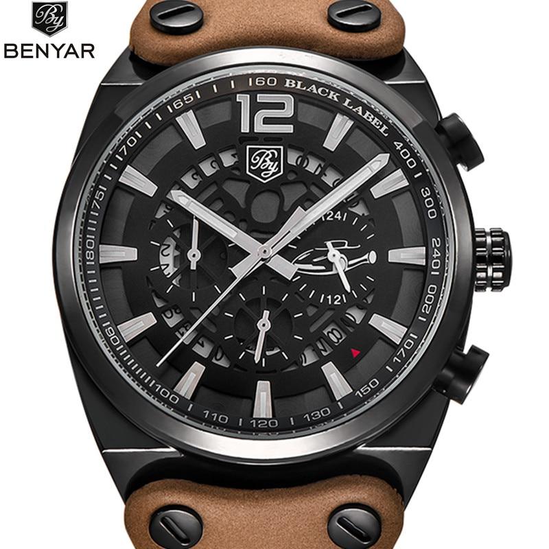 Benyar New Brand Luxury Quartz Watches Men Fashion Casual Mens Hollow Skeleton Watches Leather Sport Watch Dress Wristwatch