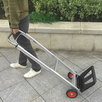 2018 Two Wheel Folding Portable Shopping Cart Aluminum Alloy Trolley Car Luggage Trailer Tightly Loaded Foldable