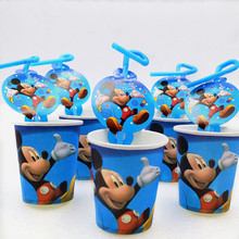 20pcs/set Mickey Mouse Cartoon Kids Favors Straws Happy Birthday Party Decoration Cups Supplies Shower