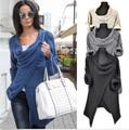 Women Sweaters Knitted  2015 New Star Models Long Sleeve Loose Outwear Knitwear Cardigan One Button Irregular Sweater