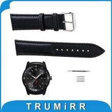22mm correa de piel genuina para lg g watch w100/r w110/urbano w150 smart watch band pulsera correa para la muñeca + herramientas negro