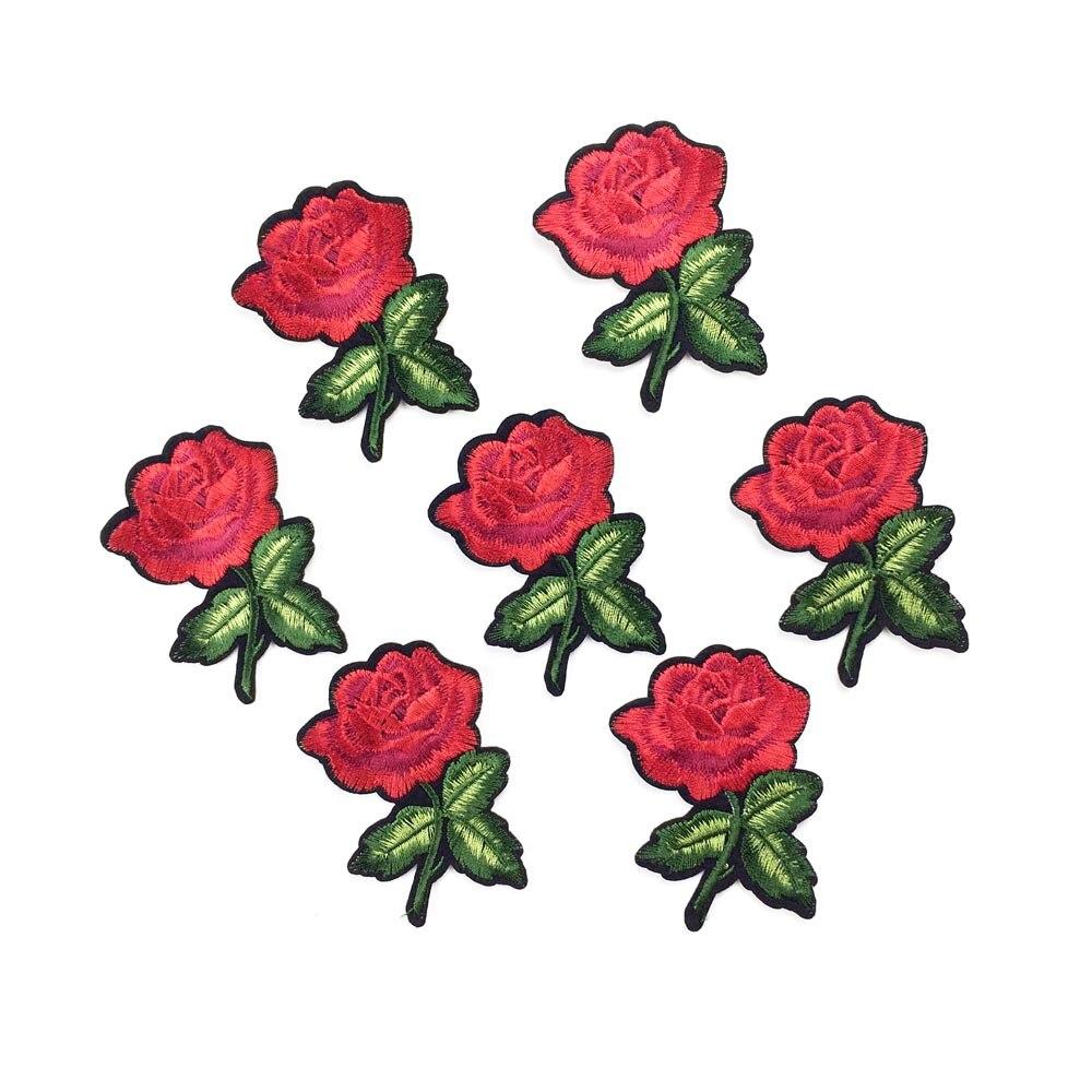 Apliques Bordados Flor Rosa//Hierro//Coser Parche//Insignia