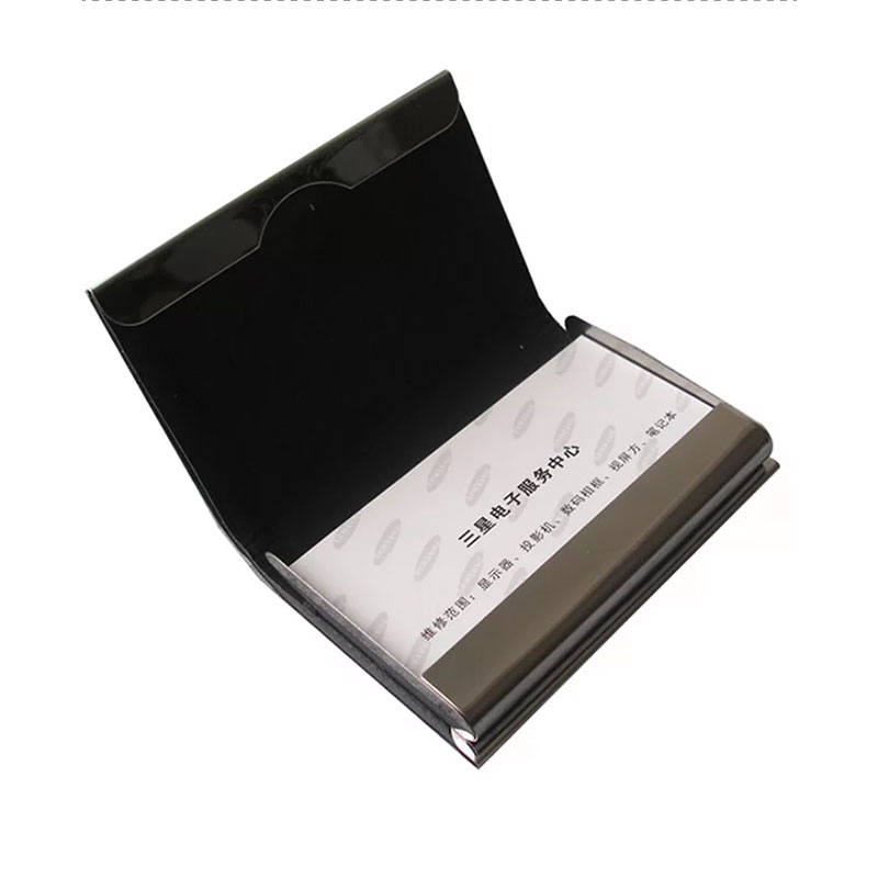 LZN Aluminum PU Leather Business Credit Card Holder For Women Men Steel Portable ID Name Cardholder Free Customlized Logo/Text