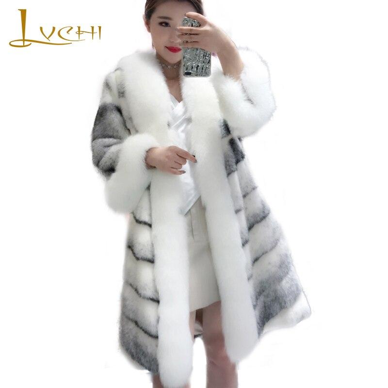 LVCHI 2019 Женская сшитая норка пальто из натурального меха волнистая норковая шуба средняя три четверти потеря Повседневная полосатая потеря