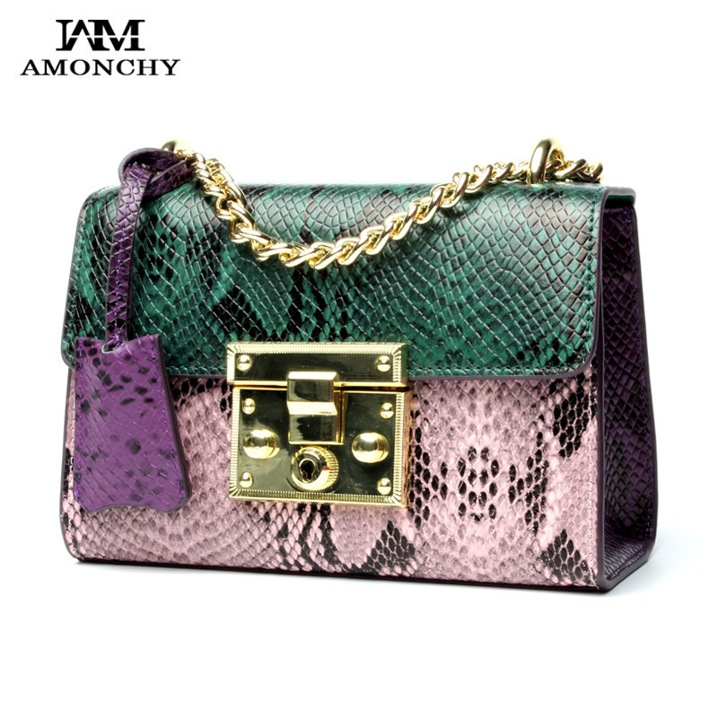 Summer 2017 Chain Women Bags Genuine Leather Handbags Fashion Serpentine Ladies Messenger Bags Designer Brands New Shoulder Bag