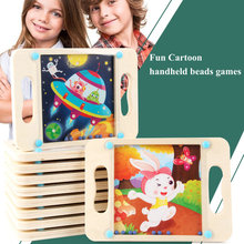 Kids Challenging games Fun Cartoon handheld beads game, Maze puzzle and Sliding Piece Puzzle wooden toys, Balance game baby toy