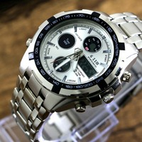 Top Quality Men Brand Waterproof Stainless Steel Casual Quartz Watches Men Sports Military LED Digital Watch