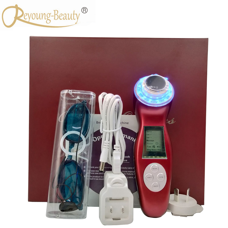 Home Use High Frequency 3MHZ Ultrasound Galvanic Ultrasonic Ion Led Photon Skin Rejuvenation Facial Massager For Wrinkle