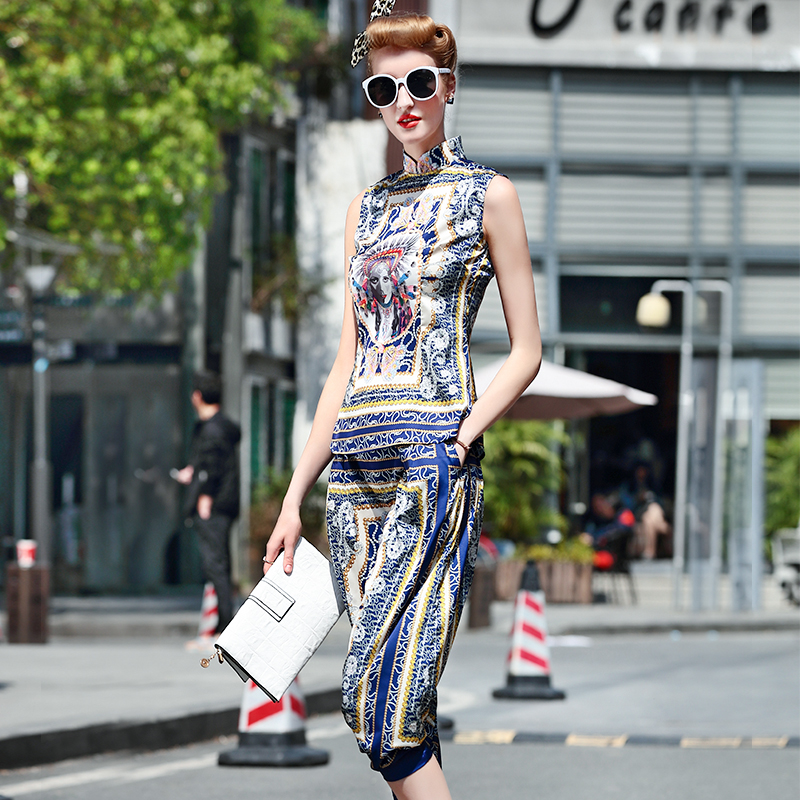 Fashion Summer Women s National Vintage 2 Piece Sets Sleevless Blouse Haram Trousers Soft Fabric Casual