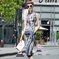 Moda verano Women 's nación Vintage 2 unidades conjuntos blusa Sleevless + Haram pantalones suaves pantalones de tela pantalones flojos ocasionales trajes