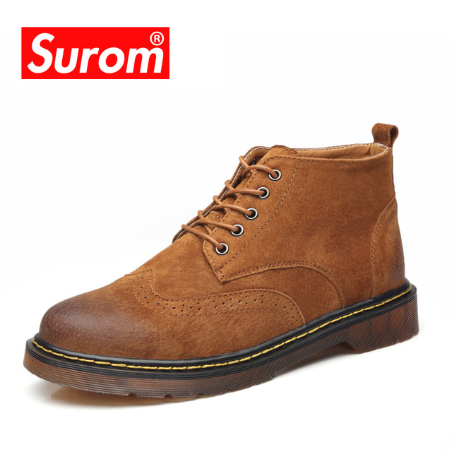 SUROM Genuine Leather Men's Ankle Boots Autumn Winter Fashion Men Martin Boots Low-Cut High Quality Male shoes adult 2018 New
