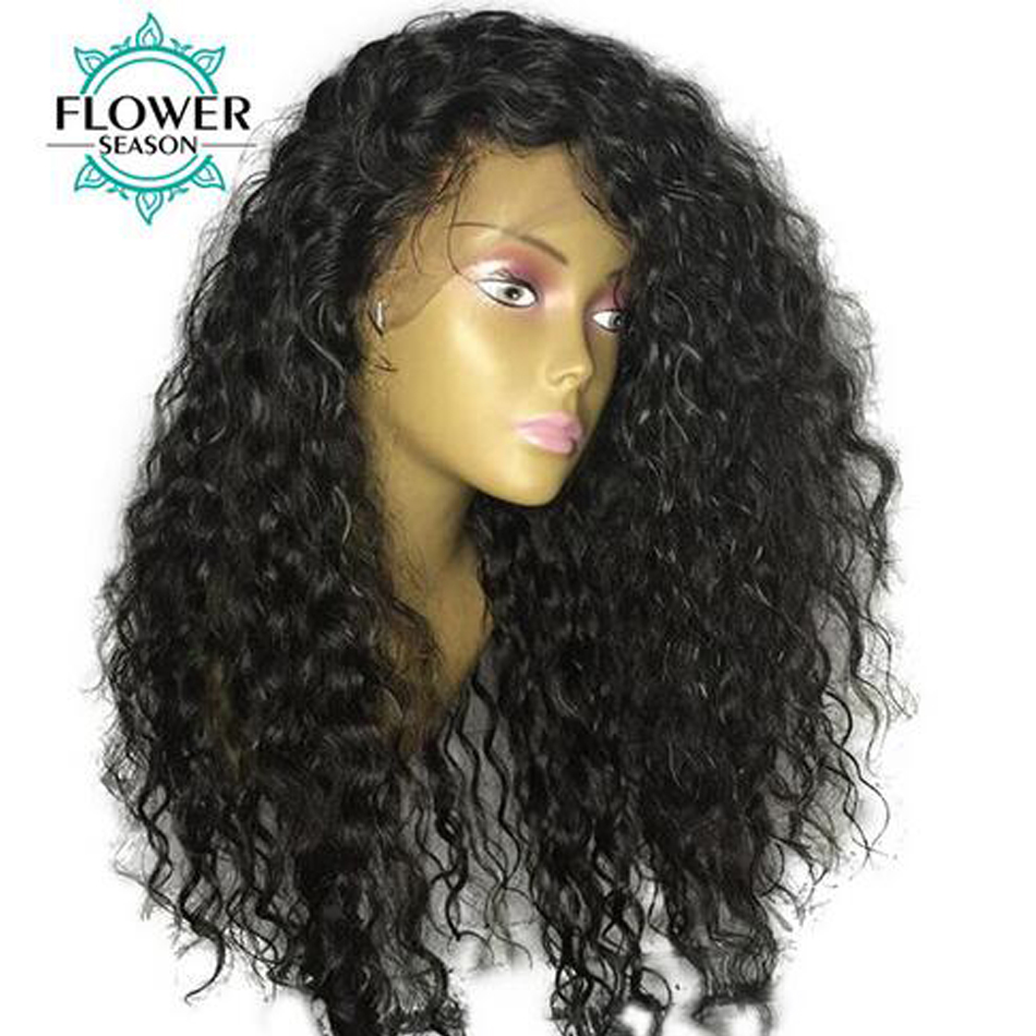 FlowerSeason Curly 13x6 Deep Parting Lace Front Human Hair Wigs For Black Women With Baby Hair Brazilian Remy Hair Pre Plucked