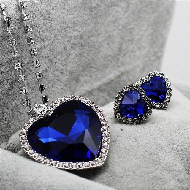 Necklace Earrings Darkblue...