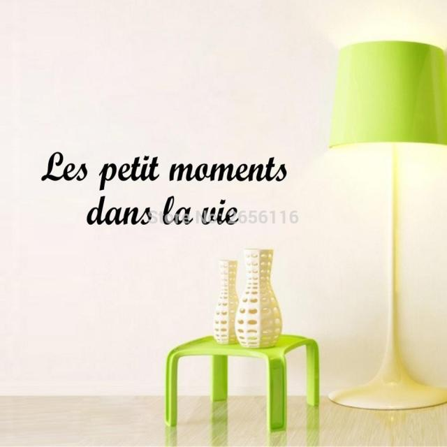 French Quote The Small Moments Life Wall Stickers For Living Room Wall  Decals Quotes Vinyl Mural