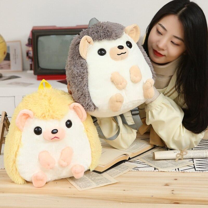 Kawaii Plush Backpack Stuffed Animal Hedgehog Backpacks Toys Knapsack for Kids Cartoon Animal Plushie Bags for Girl Kids
