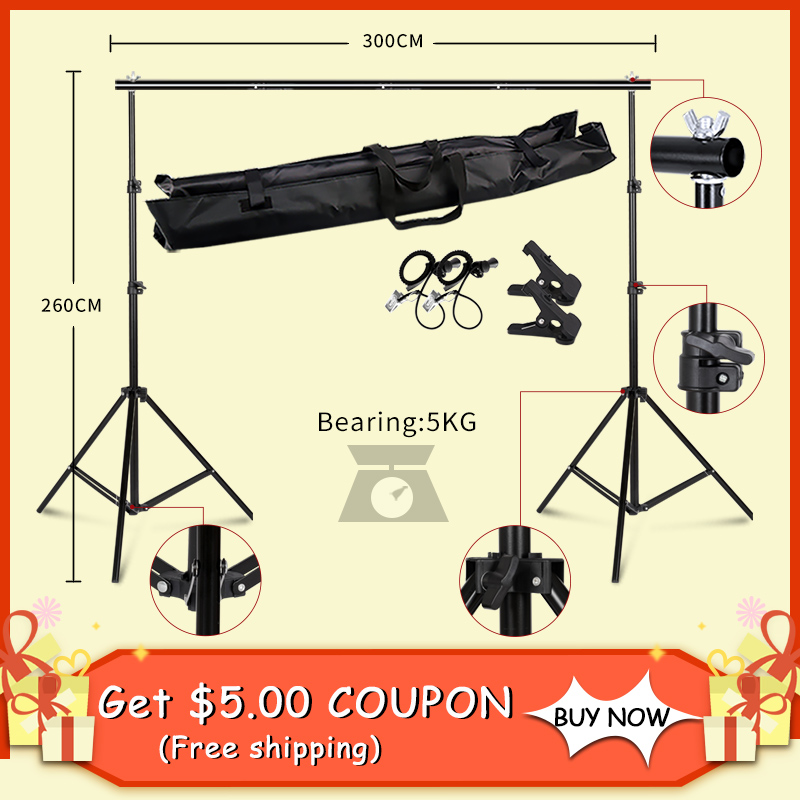 2.6MX3M Backdrops Frame Background Support System Photography Studio Background Holder Camera & Photo Accessories + Carry Bag CZ easter day basket branch bunny photo studio background easter photography backdrops
