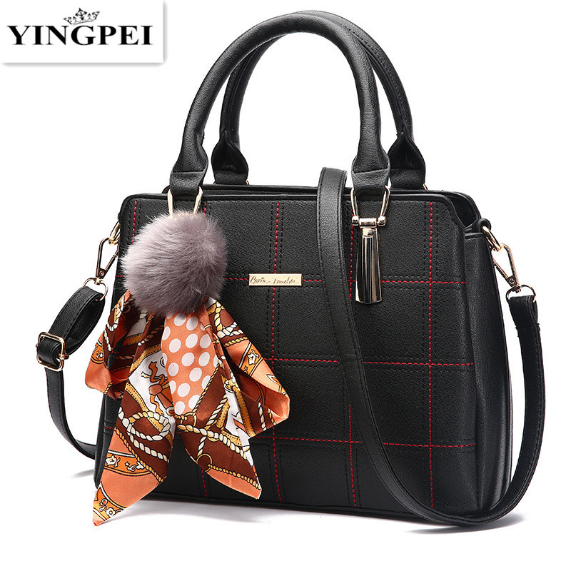 YINGPEI Luxury Women Elegant PU Leather Single Shoulder Messenger Handbag Bag Lady Large Capacity Bags High Quality Gifts Black