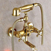 Wholesale And Retail Modern Golden Bathroom Tub Faucet Wall Mounted Mixer Tap W Telephone Style Hand