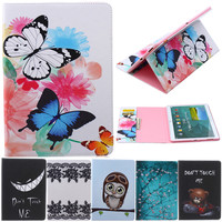 Butterfly Owl Cartoon PU Leather Flip Stand Cover Cases For Samsung Galaxy Tab S 10 5