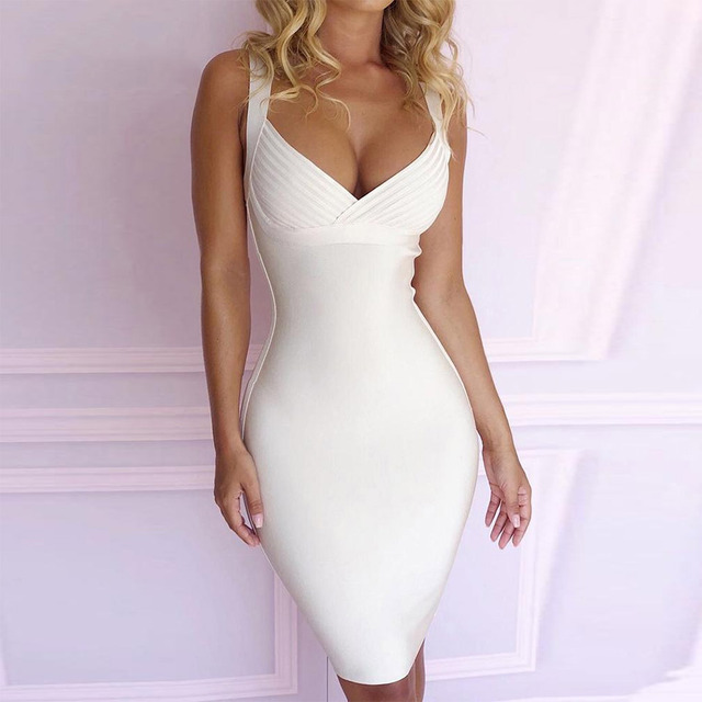 Seamyla Bandage Dresses Women 2019 New Arrivals Bodycon Night Out Club Evening Party Dress Summer Sleeveless White Vestidos