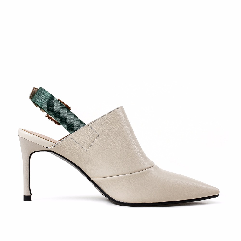 MAYPIE 2018 New Arrival Genuine Leather High Heel Shoes Ladies 8CM Pointed  Toe pumps Fashion Buckle Strap Woman Good Quality-in Women s Pumps from  Shoes on ... 0f77ed40e321