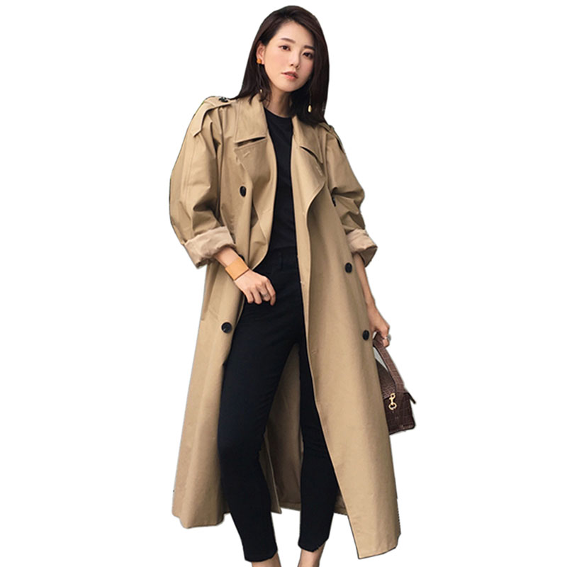 2018 Autumn Women Long   Trench   Female Double Breasted Loose Straight Coat fashion Slim Waist All-match Casual Outerwear