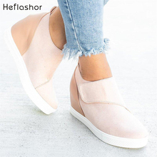 HEFLASHOR Women Casual Shoes 2019 New Women Sneakers Fashion Breathable PU Leather Platform White Women Shoes Soft Footwears