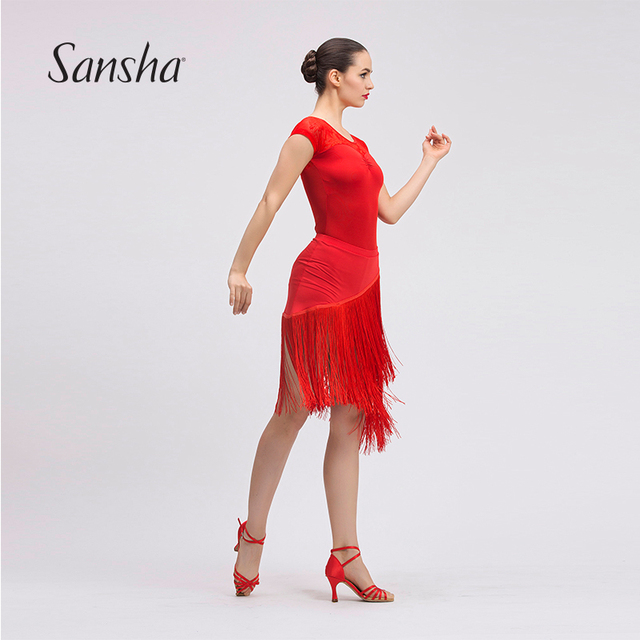 5077205b3bb6f Sansha 2017 Professional Ladies Latin Sexy Fringes Skirt Girls Black Red  Custome Latin Samba Tango Dress 55AG0003T