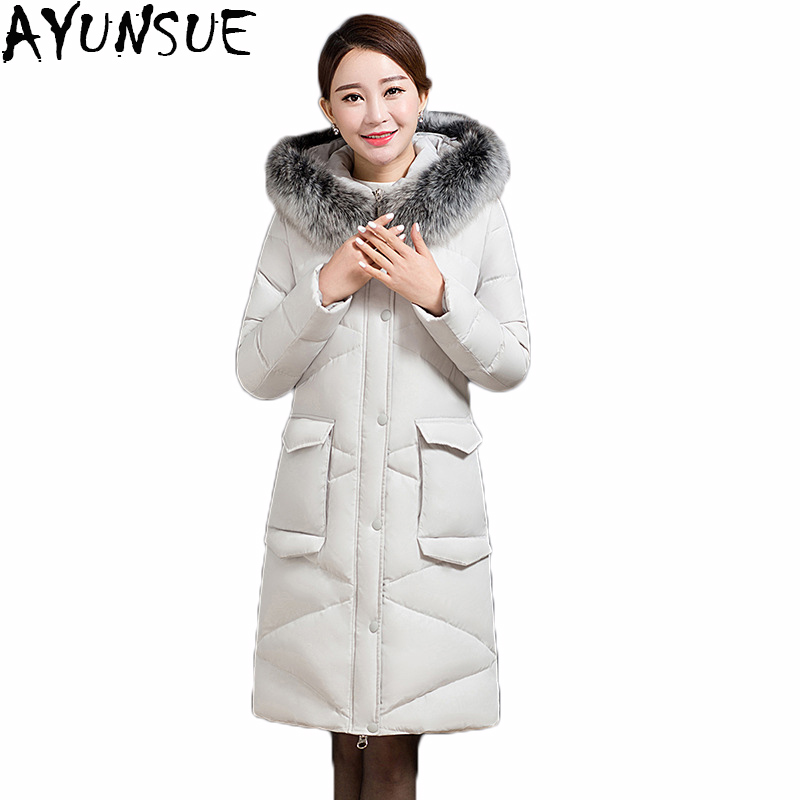 AYUNSUE 2019 New Brand Ladies Long Winter Warm Coat Women White Duck Down Jacket Fox Fur Female Overcoat High Quality LX1027