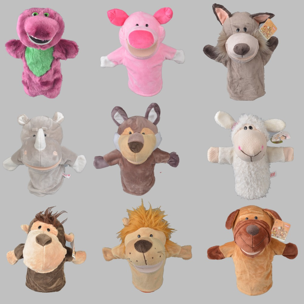 25 cm Lovely Stuffed Baby Kids Plush Hand Puppet, Teaching Tools & Learning Plush Toys, Party Gift Free Shipping