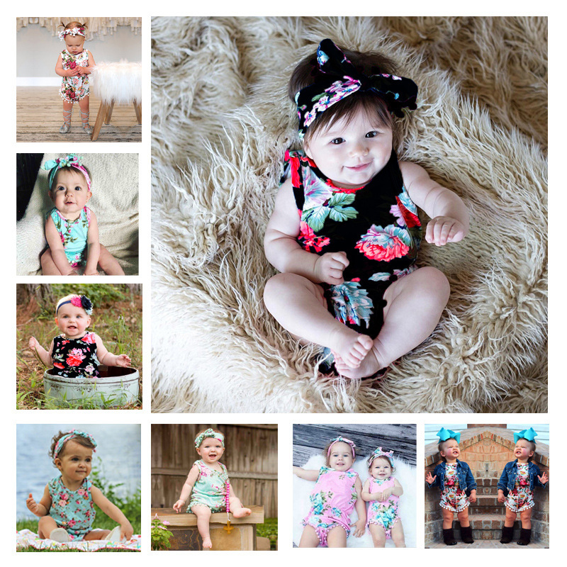 Baby Bodysuits Spring Summer Babies Newborn Cotton Body Baby Sleeveless Infant Bebe Girl Flower Clothes set Ins Hotsale