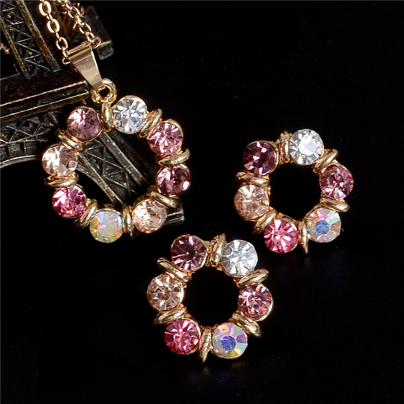 Hesiod 2 pcs/Set Gold Color Sweet Pink Round Circle Shape Pink Color Austrian Crystal Necklace Earring Jewelry Sets For Women 2
