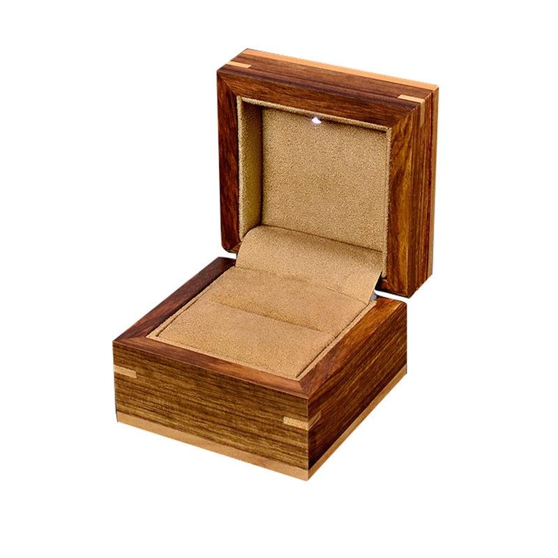 лучшая цена High Quanlity Wood Ring Box With Light Fashion Romantic Jewelry Wedding Boxes Coffee Color Gift Box For Women B026