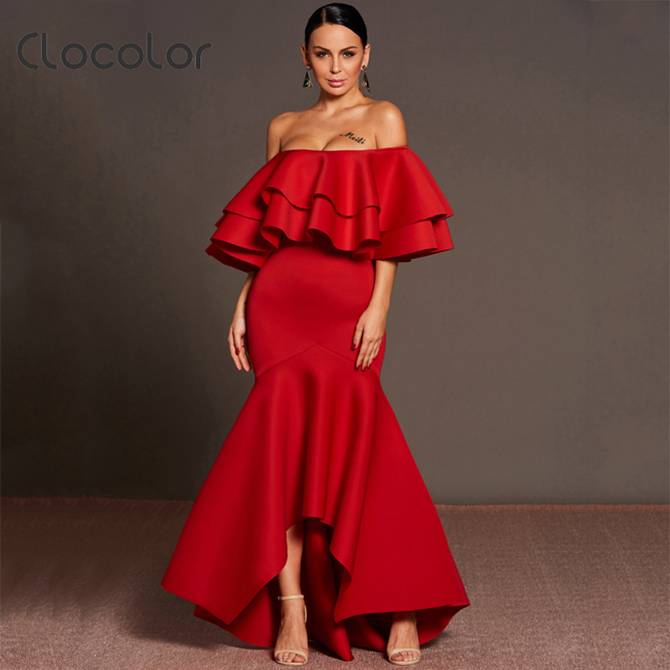 Clocolor Women Asymmetrical Dress Off shoulder Ruffles Backless Zipper Solid Red Floor-Length 2018 Fashion Autumn Women Dress